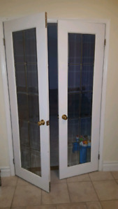 2- 2 ft Solid Wood Glass French Doors