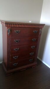 CHERRY CHESTNUT 5 DRAWER DRESSER. $40