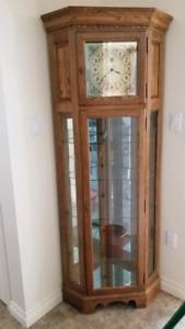Oak corner grandfathers clock