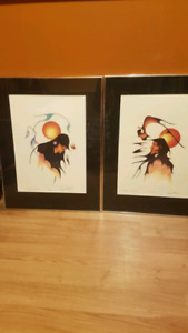 Native Art. Garry Meeches signed and framed prints (2)