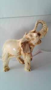 Ivory colored Elephant Statue Rare Vintage
