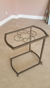 Glass &  Metal end tables x 2
