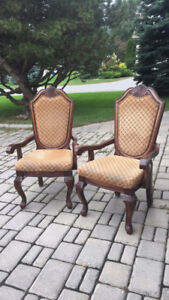 2 Solid wood arm chairs