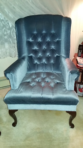 3 wingback chairs, a wardrobe and grandfather clock