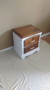 Bedside table end table locker refurbished solid wood ex shape