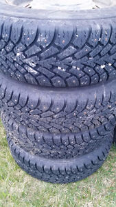Summers/Winters and one set of 5 bolt chev rims 195/70R14