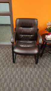 5 faux leather office reception chairs