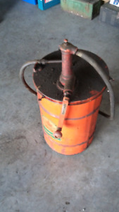 Supertest gear oil drum and Gilbert and Barker hand pump