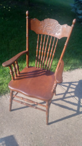 Vintage, antique press back chair with arms