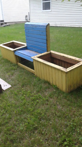outdoor bench and planters Truro