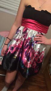 pink flower prom dress