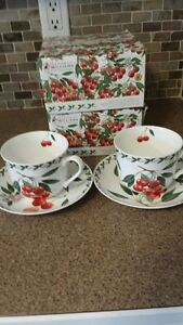 Two Maxwell Williams Orchard Fruits Breakfast Cups & Saucers