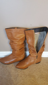 Tan Leather Winter Boots
