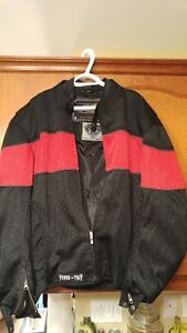 Padded biker jackets one red one blue one jean  xl great shape
