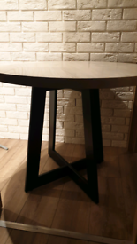 Dining table black metal legs and solid oak top