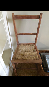 Antique chair with cane seat