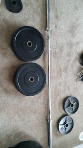 2x 45 lb Amstaff Bumper Plates + free Olympic Bar