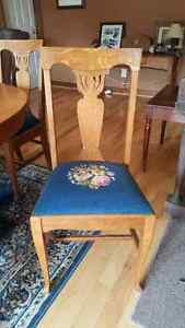 Antique Solid Oak and Floral/Blue Embroidered Dining Chairs