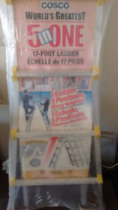 """Cosco World's Greatest 5 in one 17"""" foot ladder."""