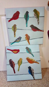 Set of 2 Birds Graphic Art Print on Canvas - Airdrie
