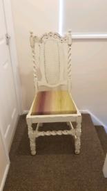 Shabby chic cream wooden chair