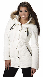 Rocawear Women's Mid-Length Nylon Parka Ivory/Black 3XL, New