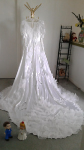 Elegant High Neck Chaple Train Wedding Dress Size 10