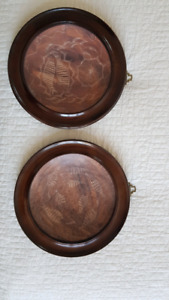 Pair of Decorative Soap Stone Plates in Wooden Wall Frame