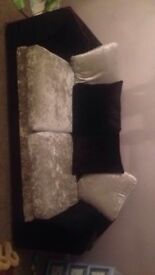3+2 seater Silver and black crushed velvet sofa