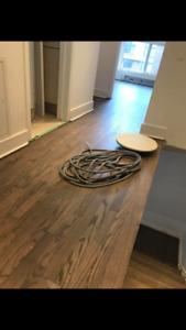 Sablage de plancher avec systeme sans poussiere