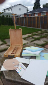*NEW* WOOD ART EASEL & SUPPLIES (cost over $90)