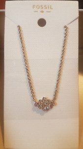 Fossil Diamond Gold-Tone Stainless Steel Necklace Womens Jewelry