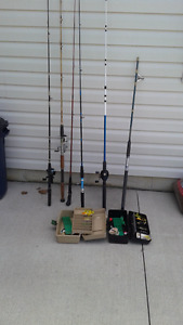 fishing gear rods,reels and fishing boxes with tackle