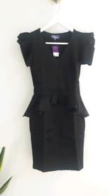 Black Peplum Bodycon Dress by Amy Childs size 8 NEW