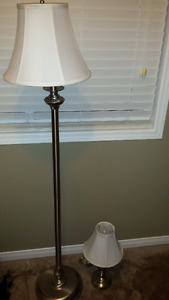 Silver and White Lamp Set for Sale (2 Pieces)