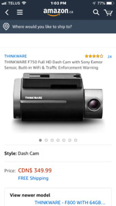 BRAND NEW THINKWAVE DASH CAM. F800. $280 Firm. 416-629-2407.