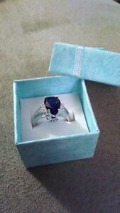 Gorgeous 10K White Gold Filled Blue Sapphire Ring  Size 7 - New