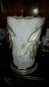 Gorgeous white & transparent Glass Lamp with Dolphins