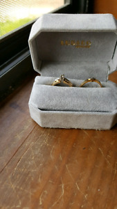 Gold engagement and wedding bands