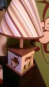 Crib bedding and matching lamp and wall hangings