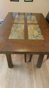 Kitchen table with slate inserts