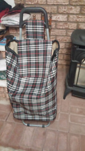 New plaid grocery cart
