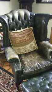 Well Loved leather chair and ottoman
