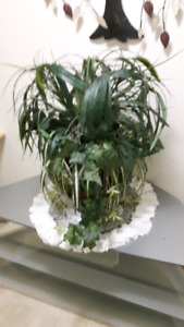 Silk Plant Arrangement 25 inched high in a nice brown container