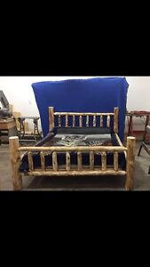 Handcrafted Rustic log bed frame
