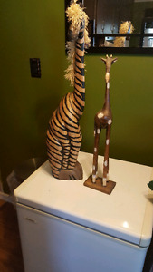 Pair of Wooden Giraffes