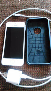 iPhone 5s, with case and charger