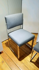 4 modern mid-century chrome dining chairs grey re-upholstered
