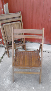 3 Wooden Fold Up Chairs