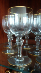 Crystal Baccarat Wine/Drink Glasses with Gold trim